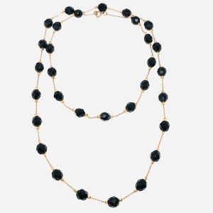 Vintage Black Glass Bead Gold Tone Necklace